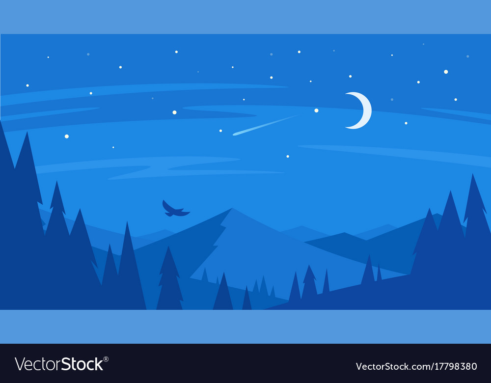 Night forest and mountain vector image