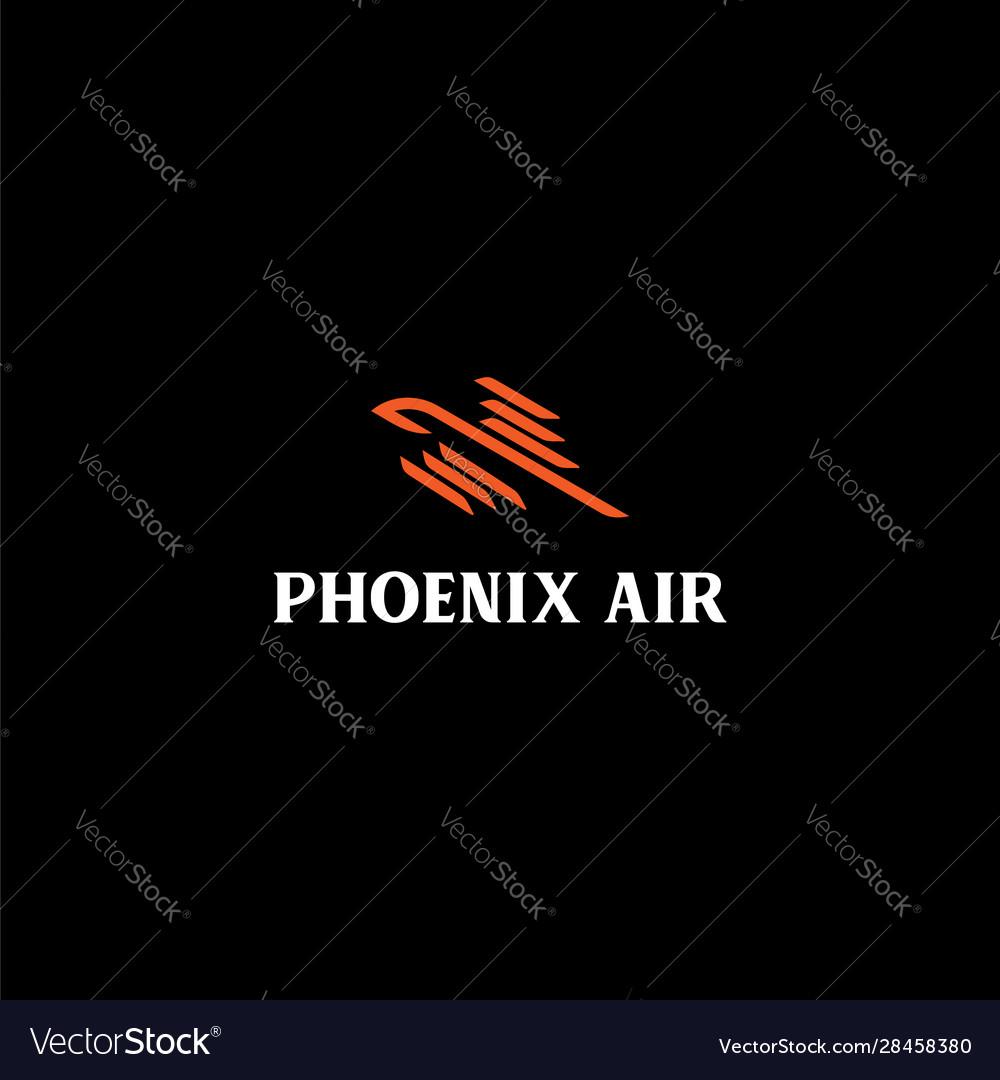 Phoenix bird line logo design