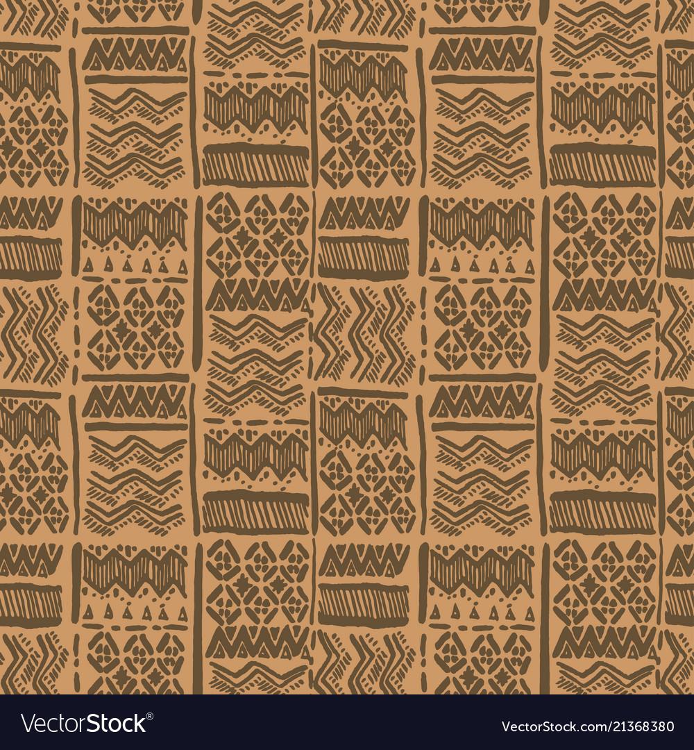 Seamless hand-drawn ethnic brown ornate