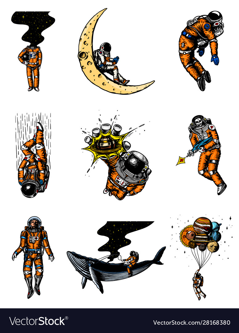 Set astronauts in solar system spaceman