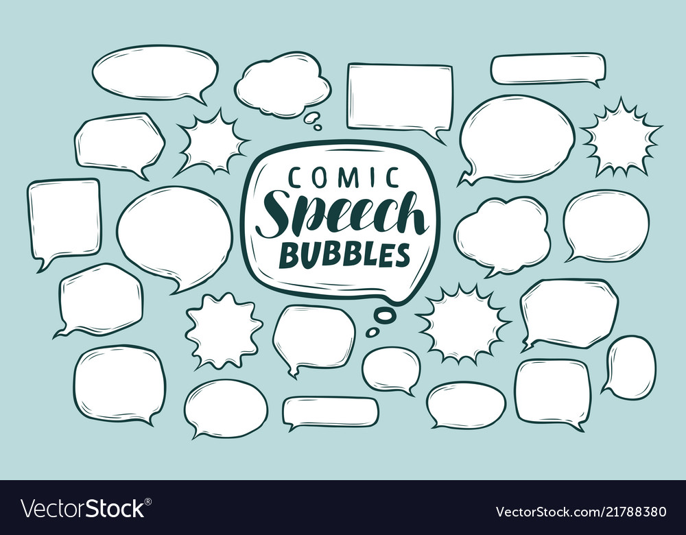 Set of comic speech bubbles doodle sketch