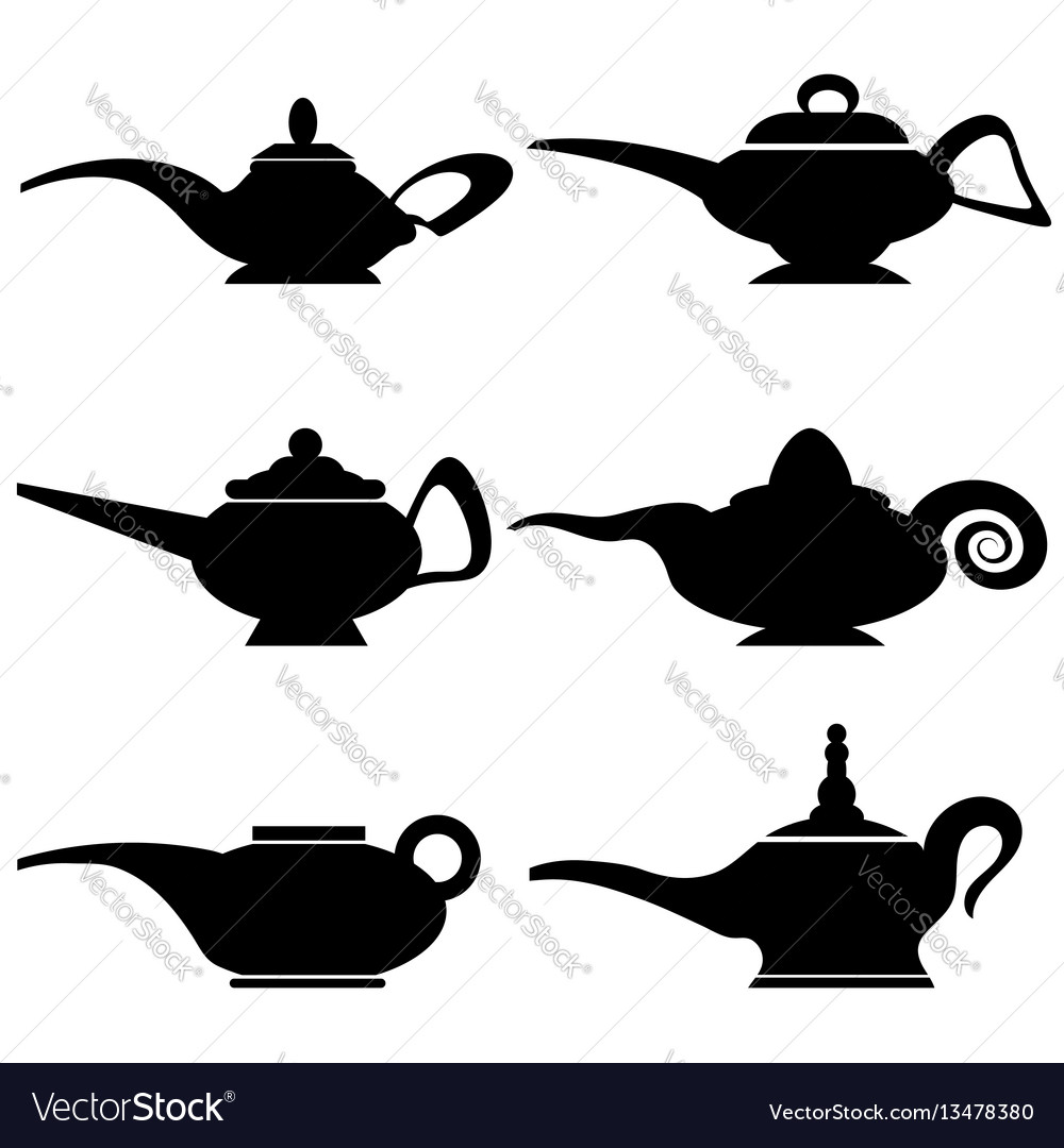 Set of different asian lamp silhouettes vector image