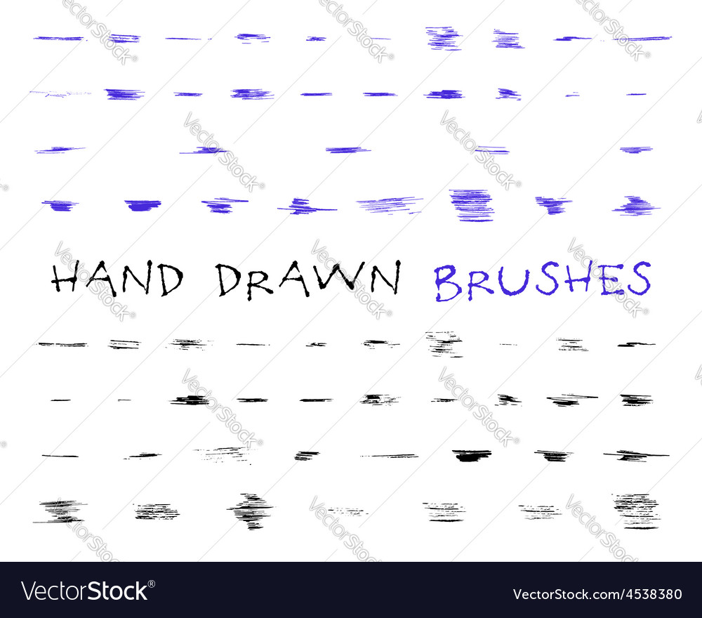 Set of hand drawndoodle sketched grunge brushes