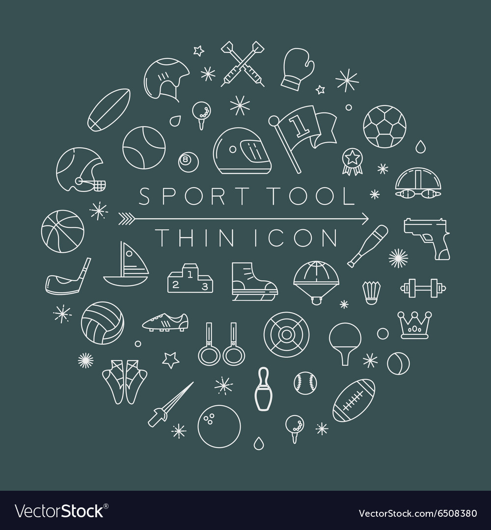 Sport thin icons eps10 format