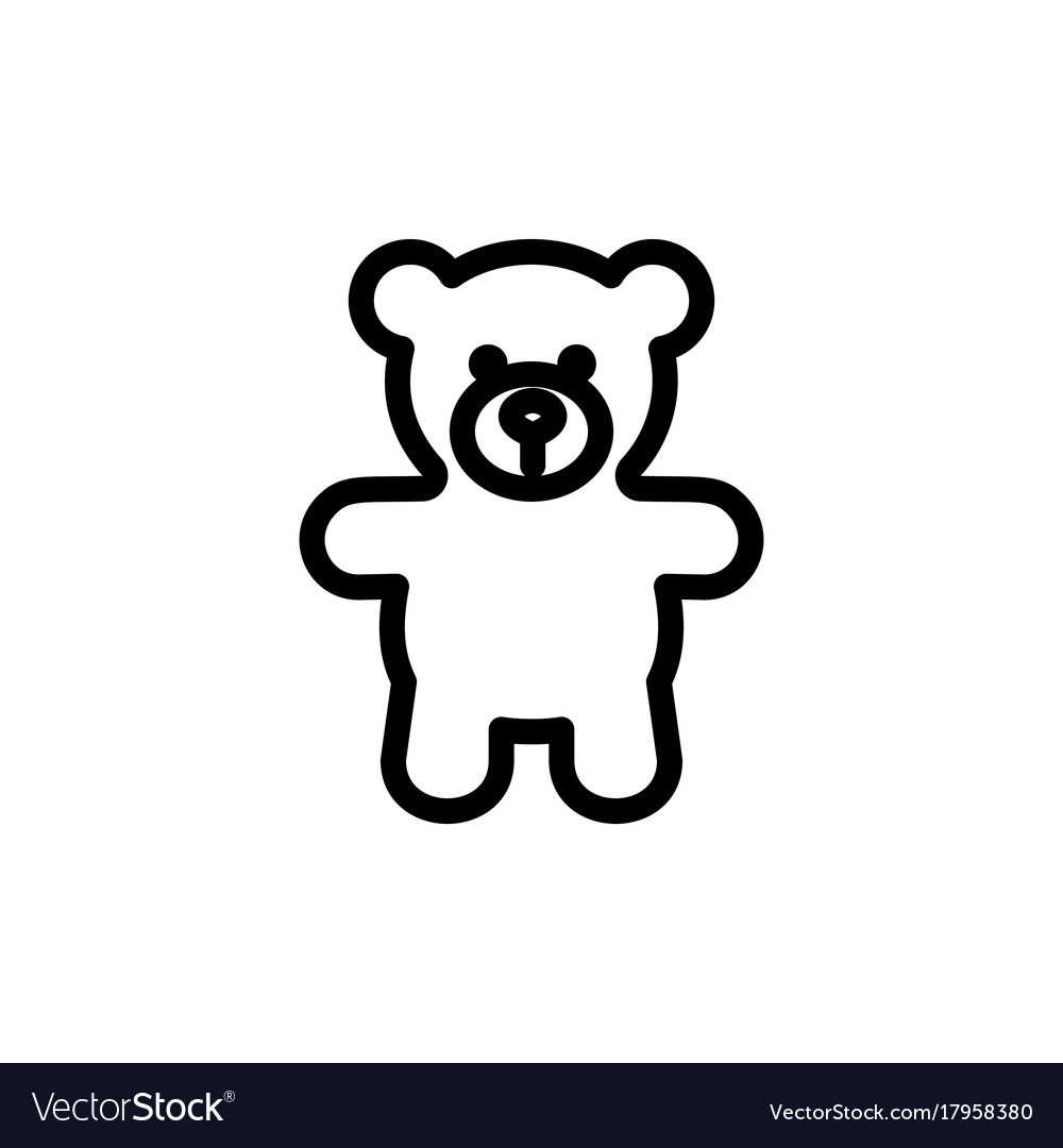 Teddy bear plush thin line icon outline symbol