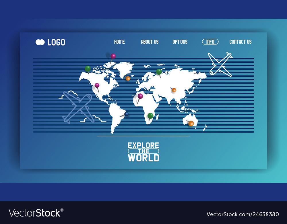 World map web-page aircraft airplane flight