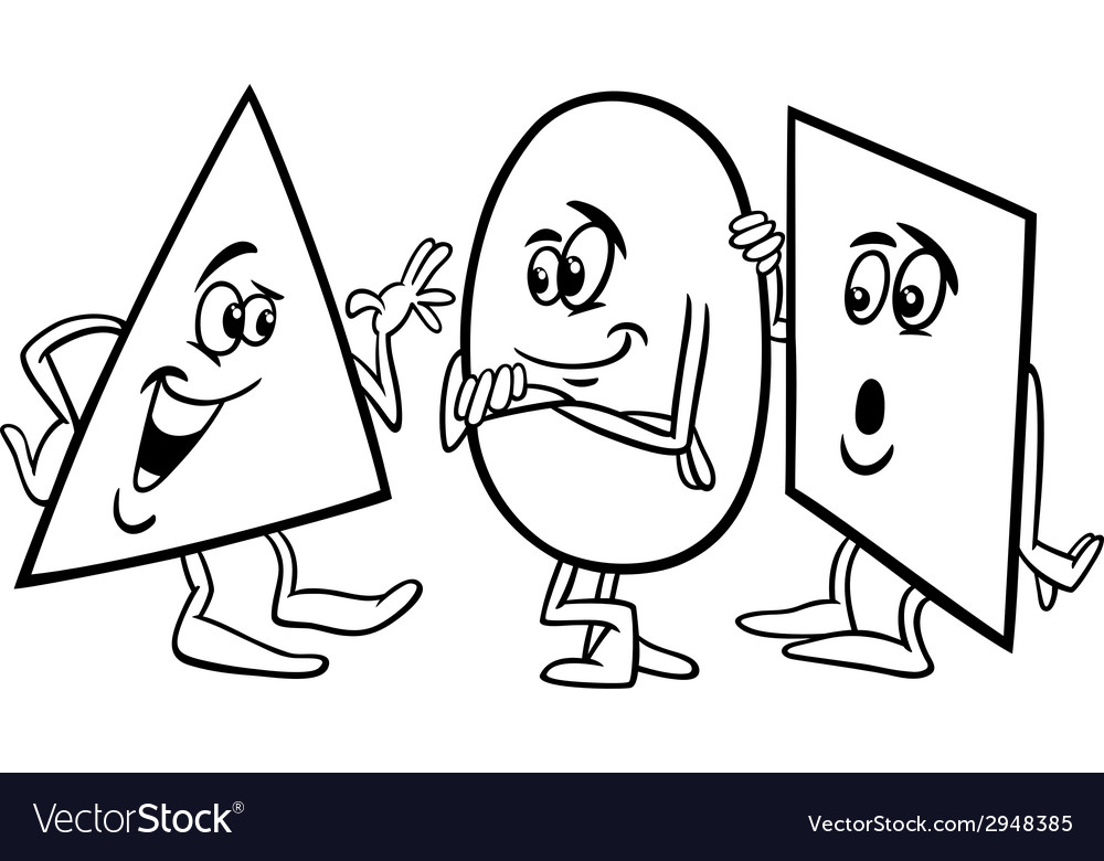 Basic Shapes Cartoon Coloring Page Royalty Free Vector Image