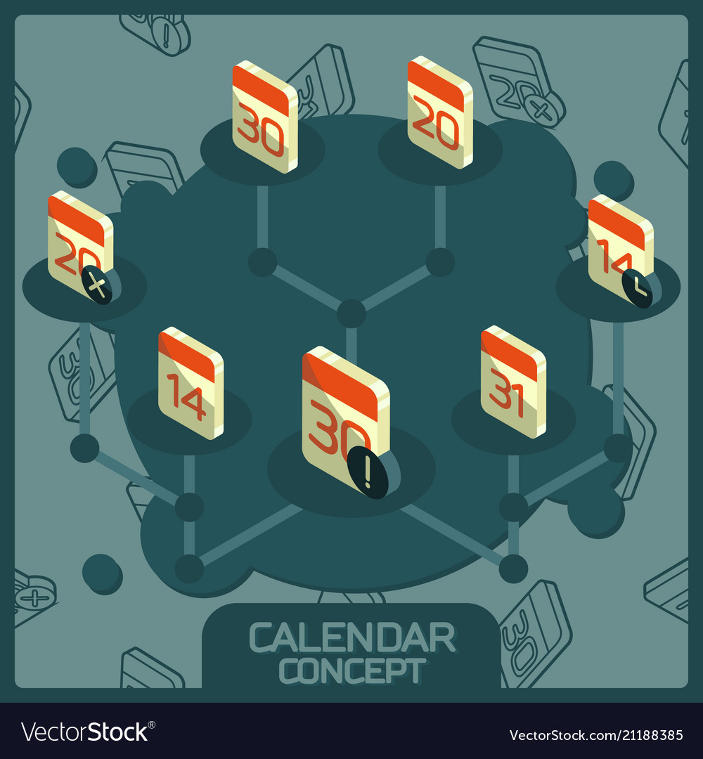 Calendar color concept isometric icons