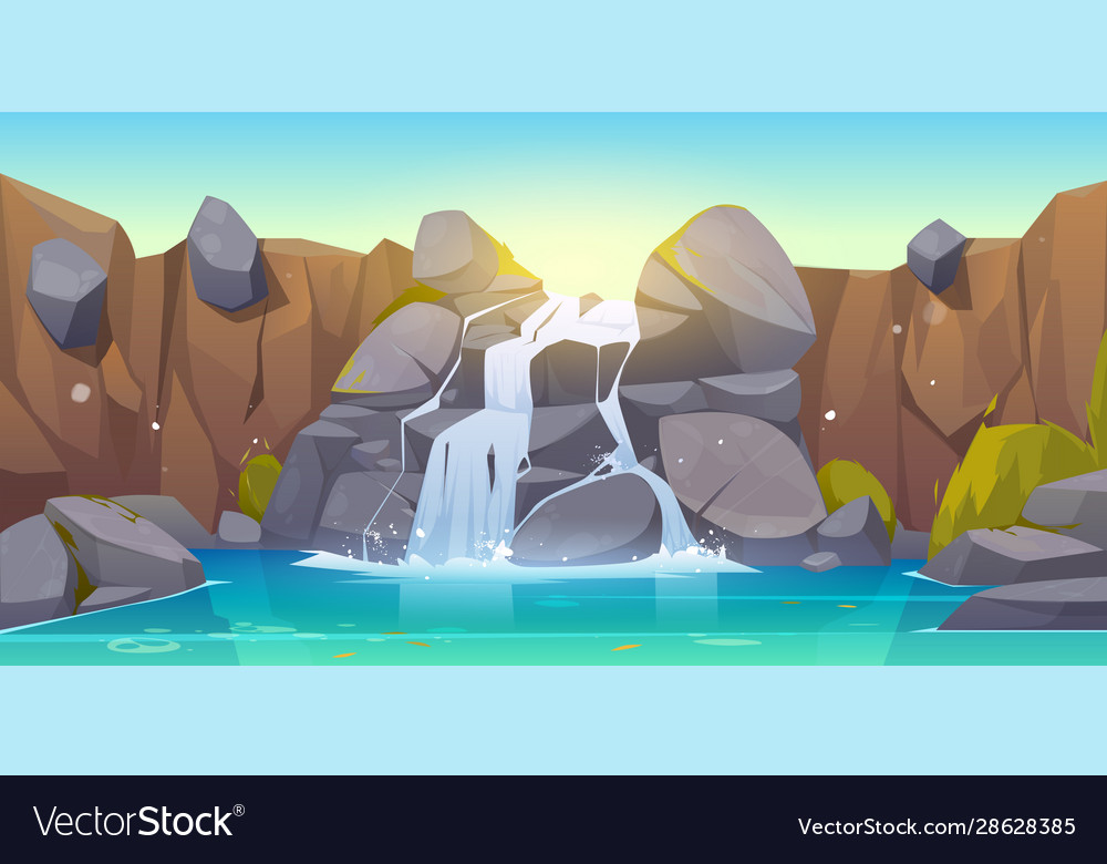 Cartoon waterfall and rocks