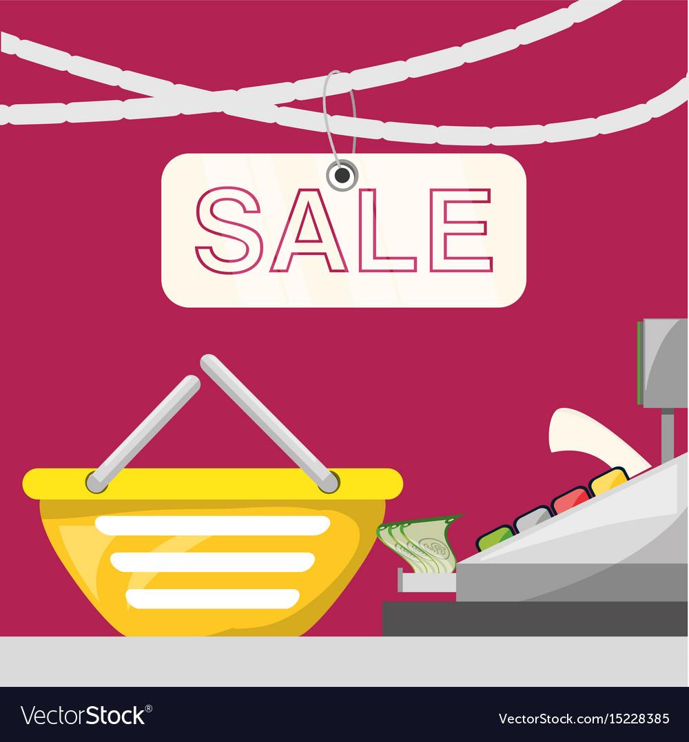 Cash register with shopping basket concept