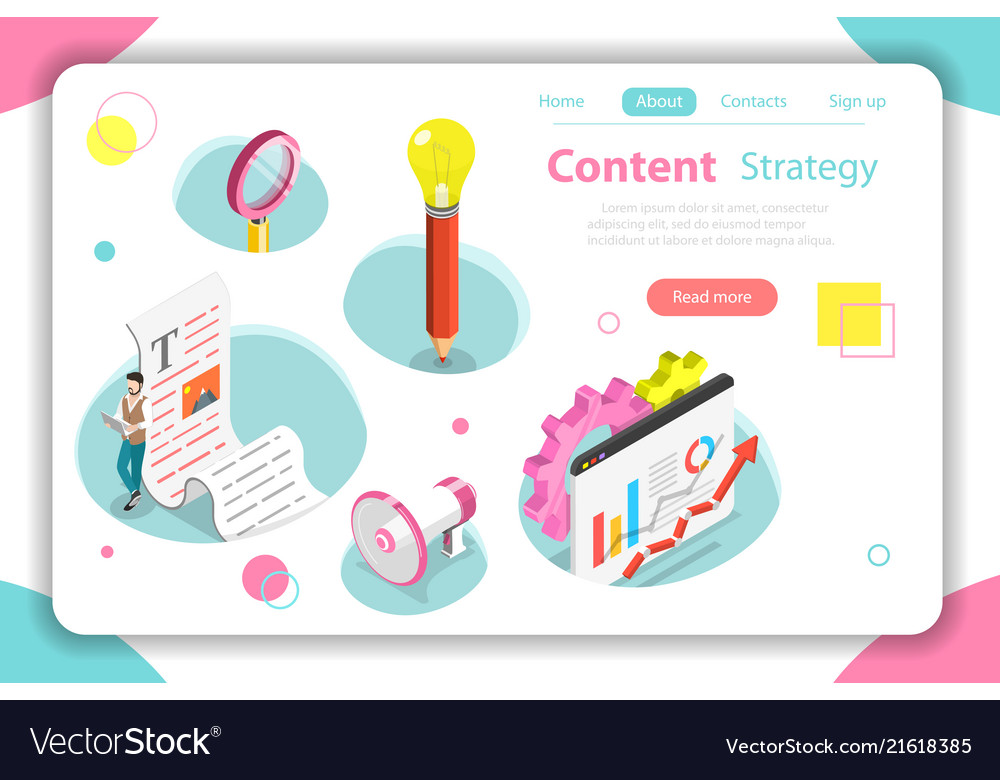 Content strategy flat isometric concept