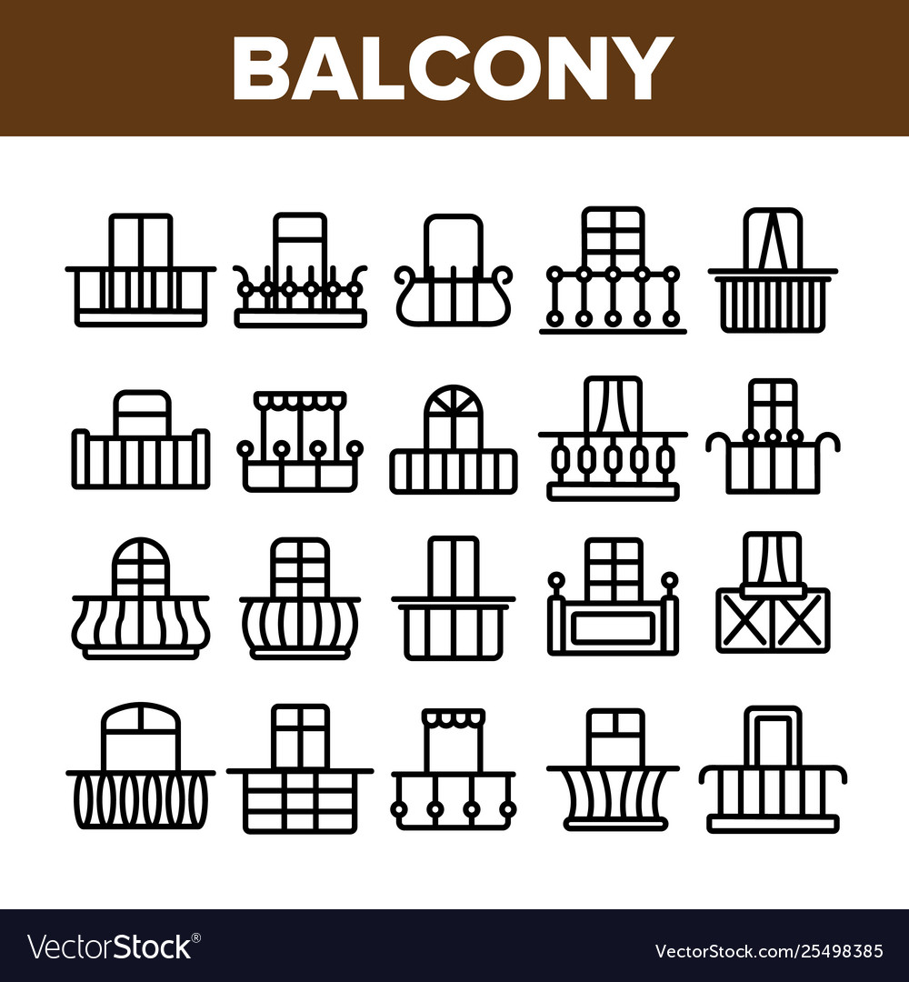 House balcony forms linear icons set