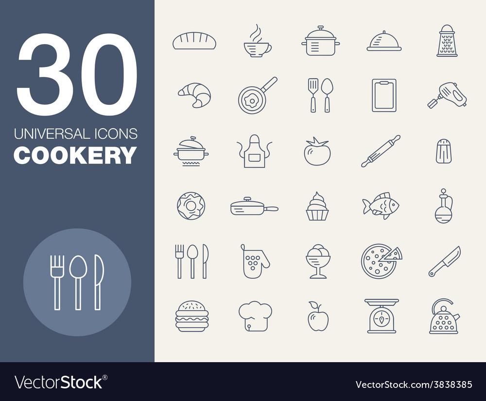 Kitchen seamless pattern 30 icon set