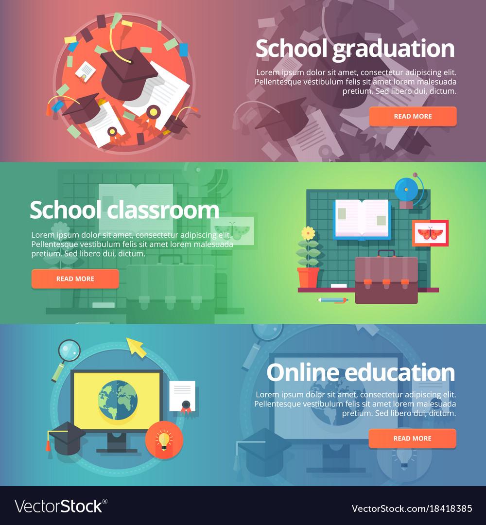 School graduation cap and gown school classroom Vector Image