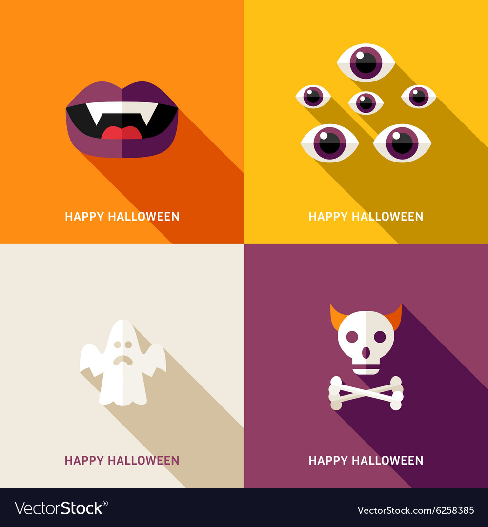 Set of flat design halloween greeting cards teeths set of flat design halloween greeting cards teeths vector image m4hsunfo