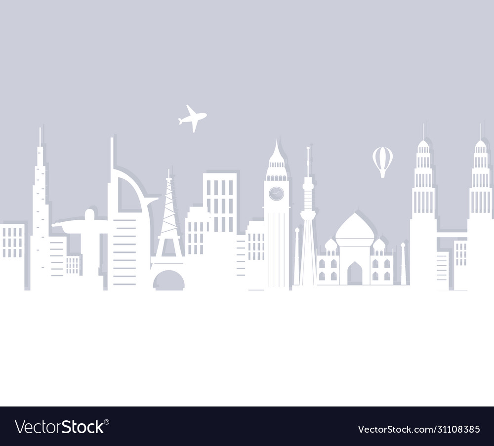 Skyline landmarks air balloon and airplane
