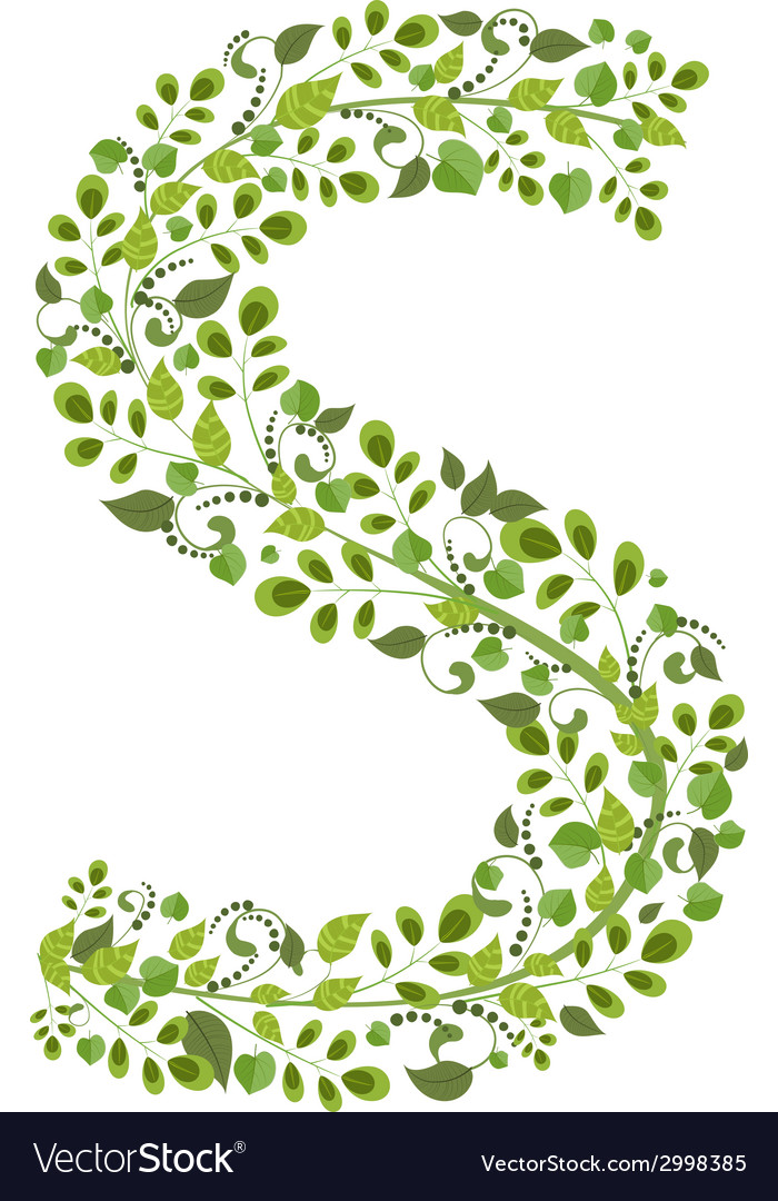 Spring green leaves eco letter S Royalty Free Vector Image