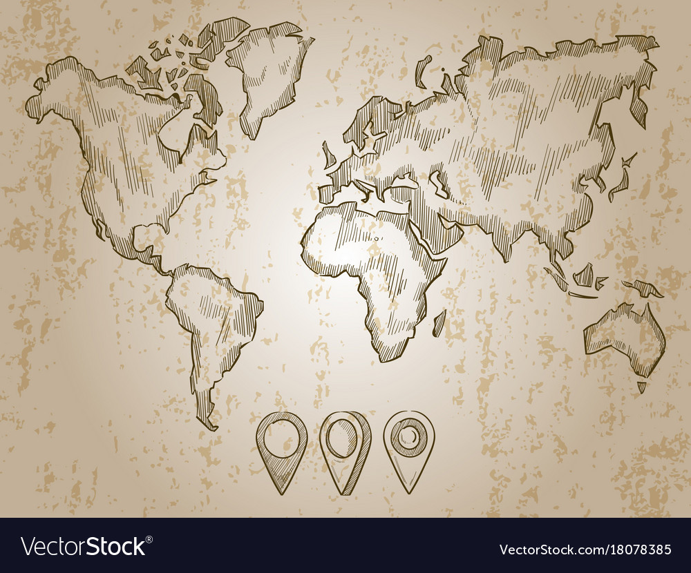 Hand Drawn Map Of The World.Vintage Hand Drawn World Map And Doodle Pins Vector Image