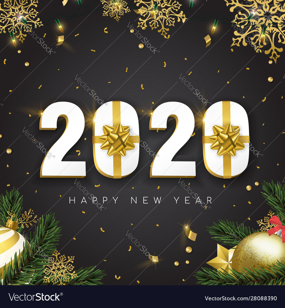 2020 new year card 3d gift holiday gold decoration