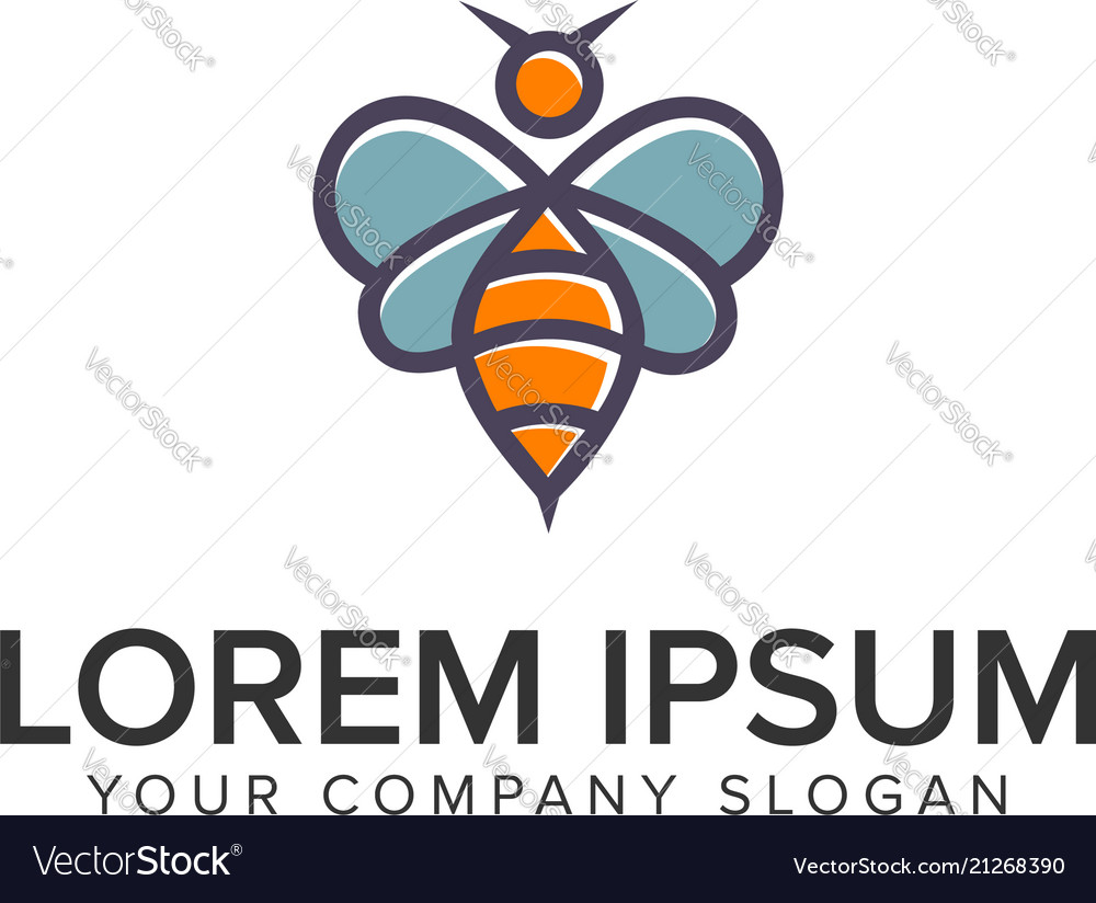 Bee logo design concept template