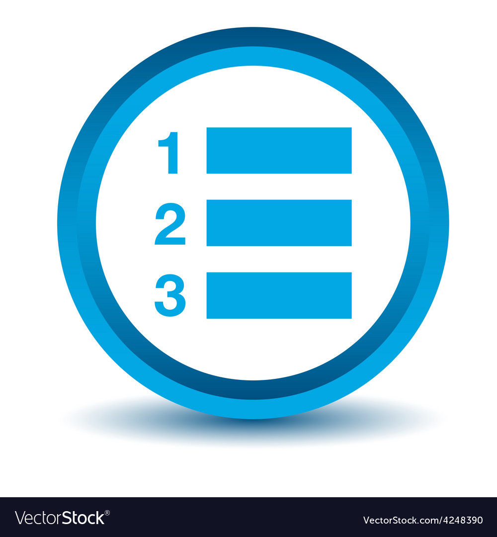 blue numbered list icon royalty free vector image