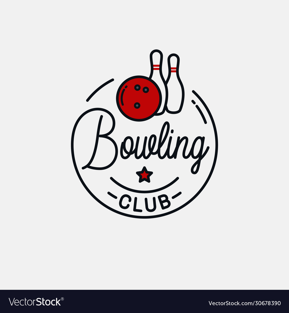 Bowling ball logo round linear bowling pins