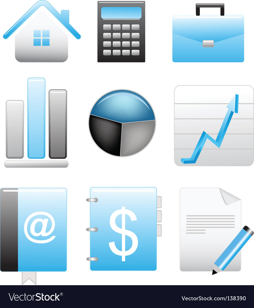 Business blue icons set vector image