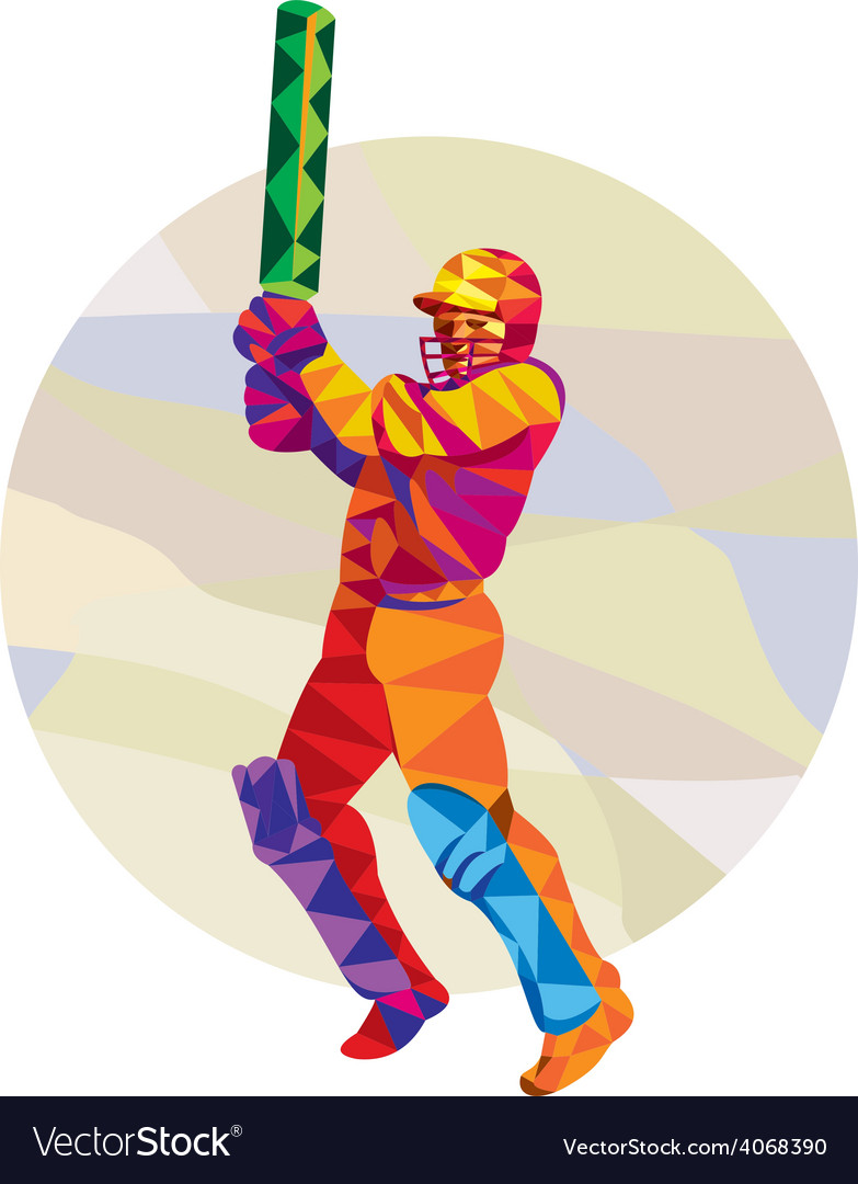 Cricket Player Batsman Batting Low Polygon