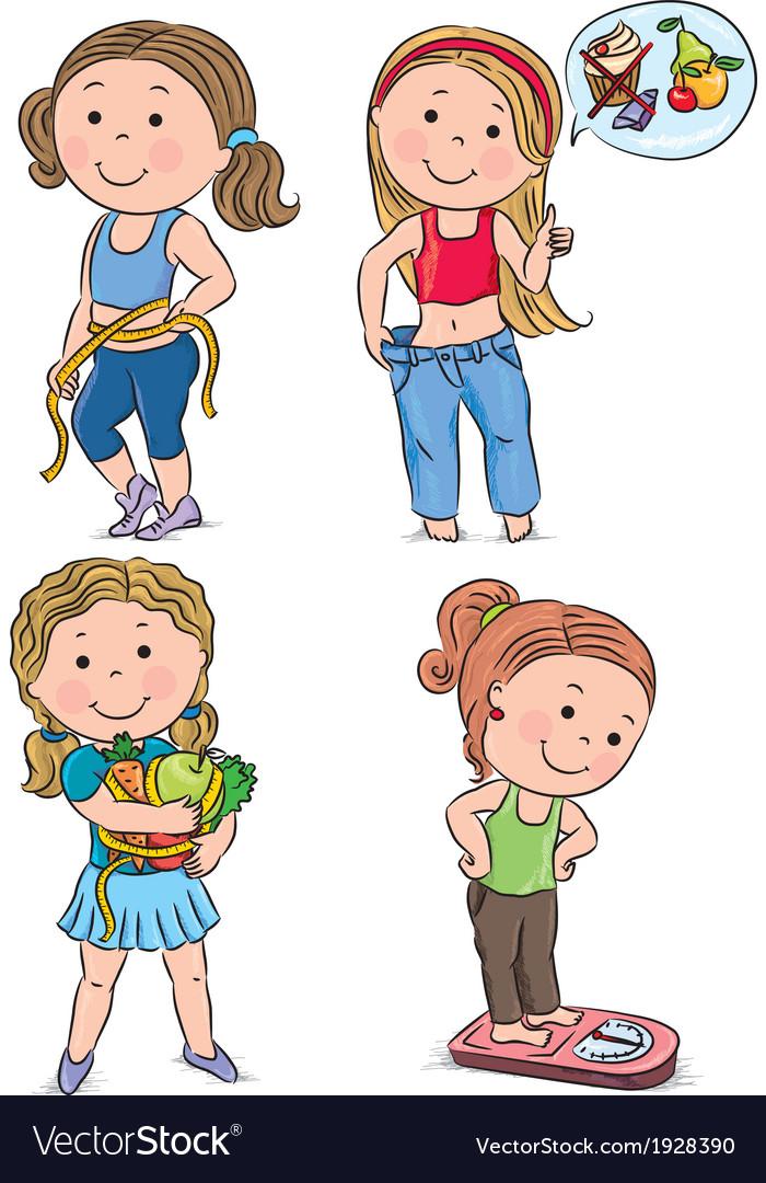 Diet kids vector image