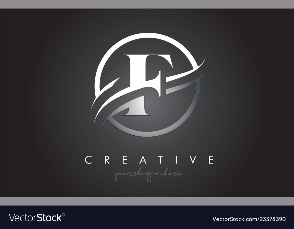 F letter logo design with circle steel swoosh Vector Image