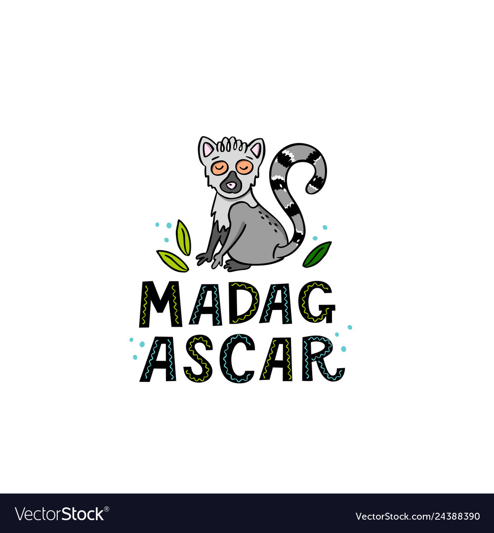 Madagscar hand written word with funny lemur