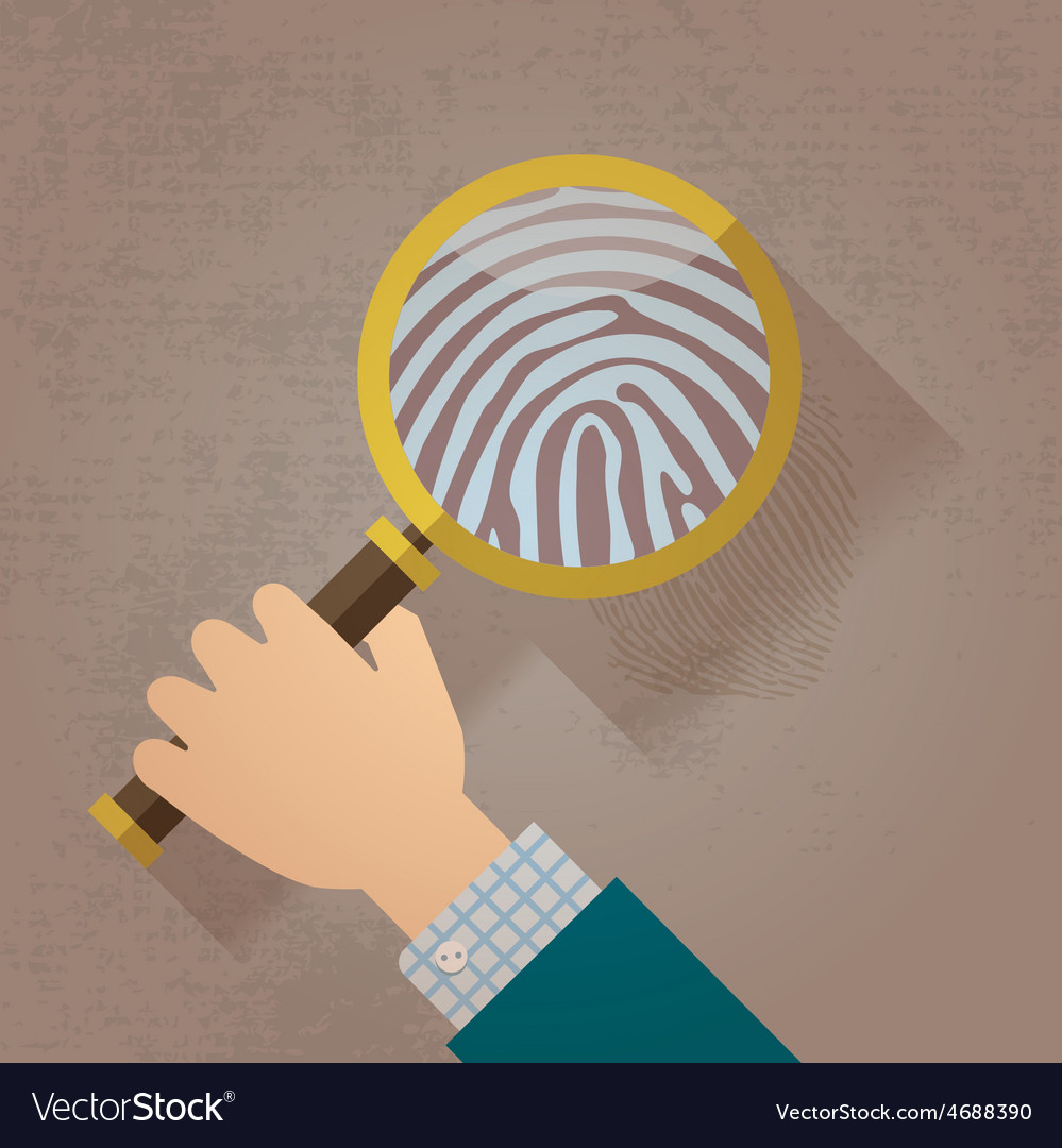 Magnifying Glass and Fingerprint vector image on VectorStock