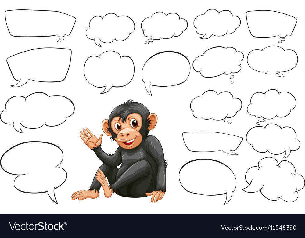 Monkey and different types of bubble speeches vector image