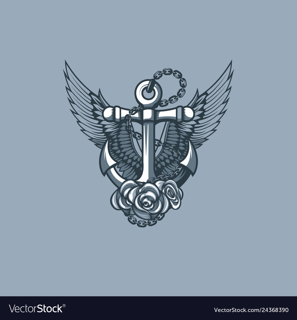 Sea anchor with wings and roses