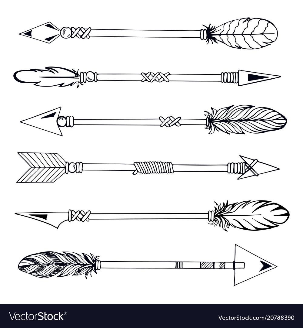 Tribal indian arrow set ethnic hand drawn