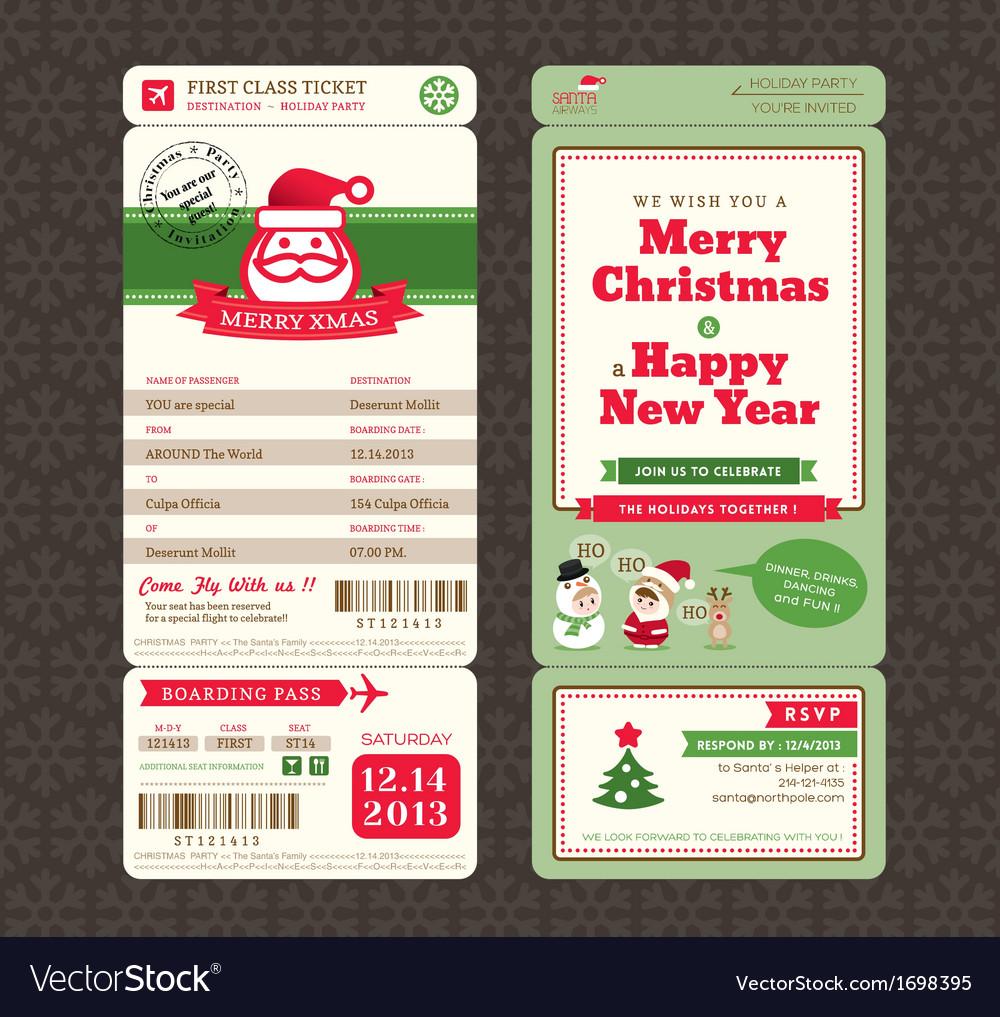 Christmas Card Design Boarding Pass Ticket Vector Image