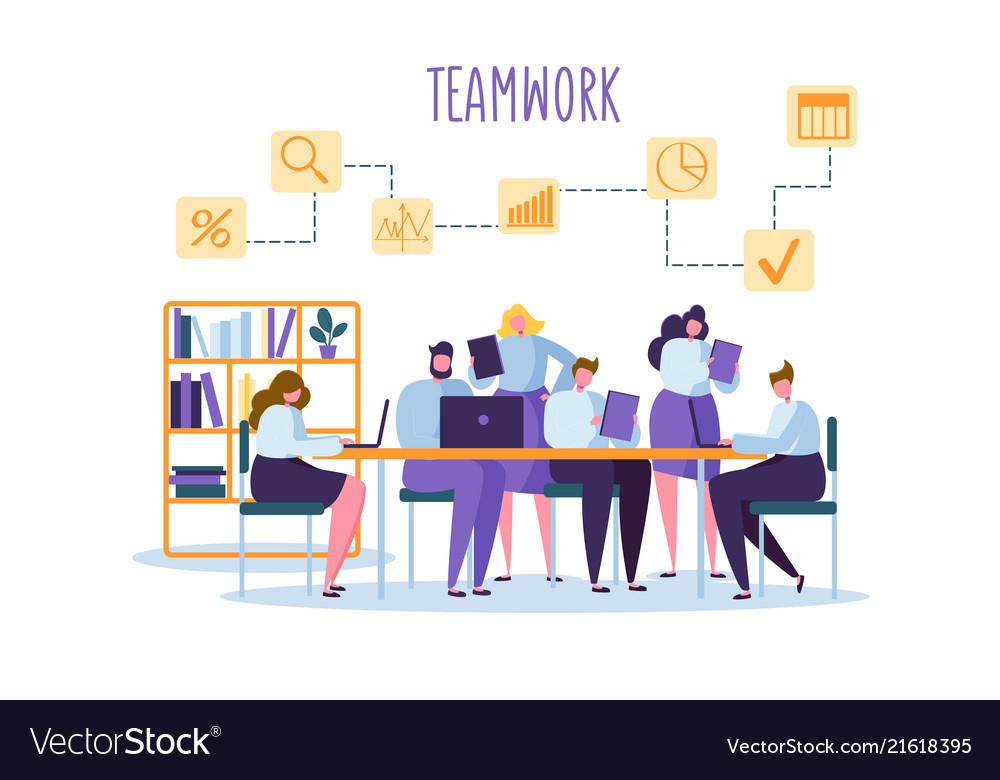 Corporate business team people behind desk