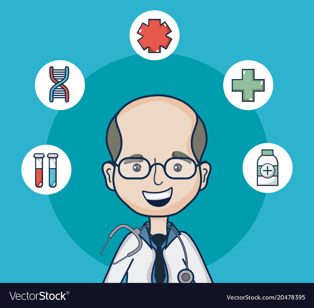 Doctor With Medical Round Symbols Royalty Free Vector Image