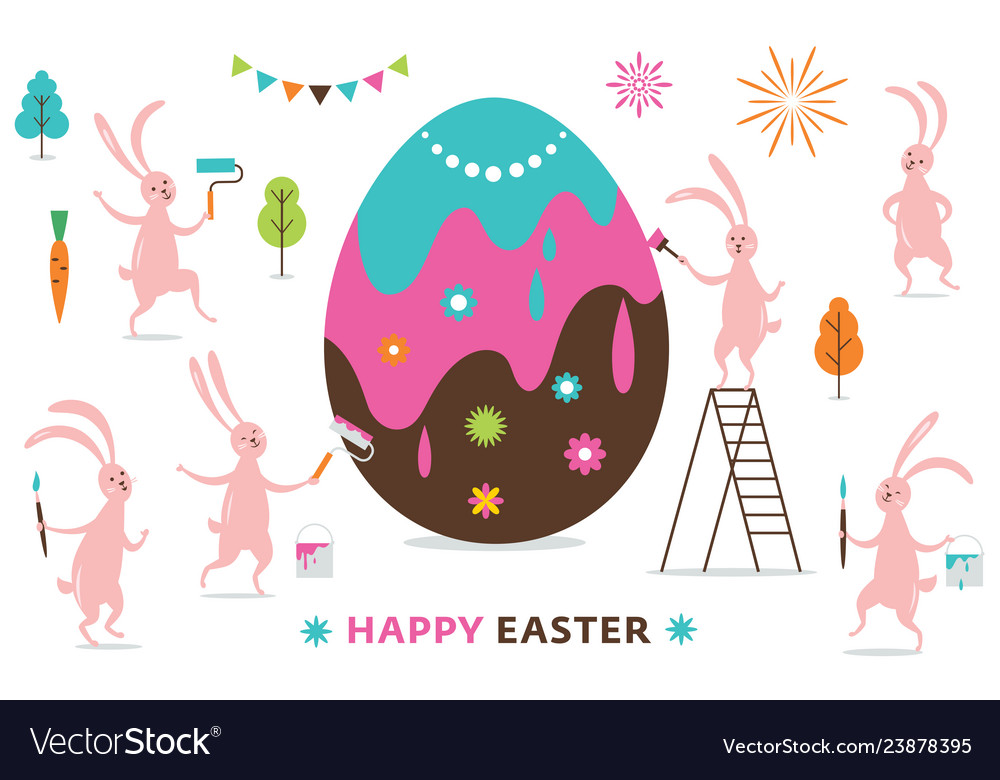 Easter scene funny bunnies painting a big egg