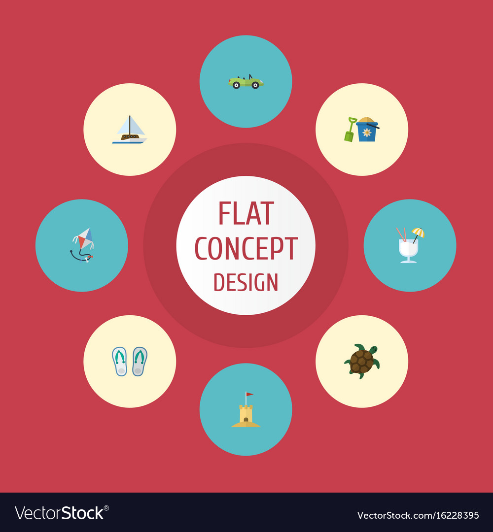 Flat icons drink car tortoise and other vector image