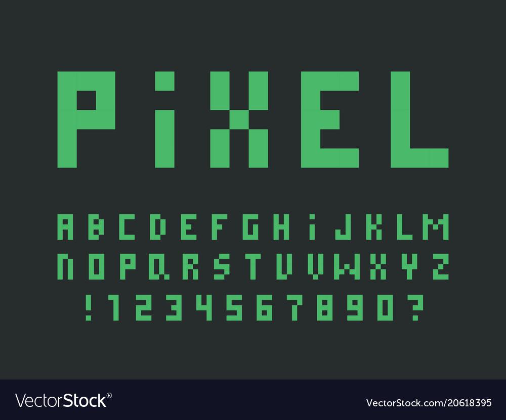 Green pixel font alphabet