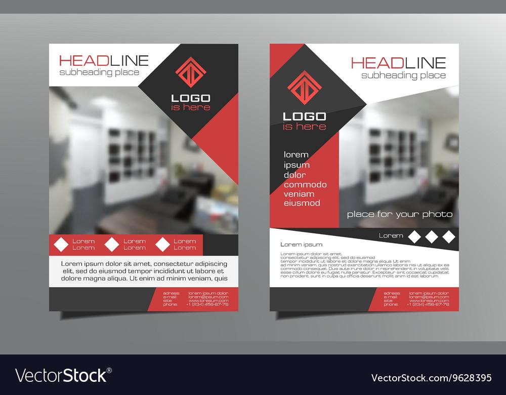 Greyred brochure flyer template design vector image