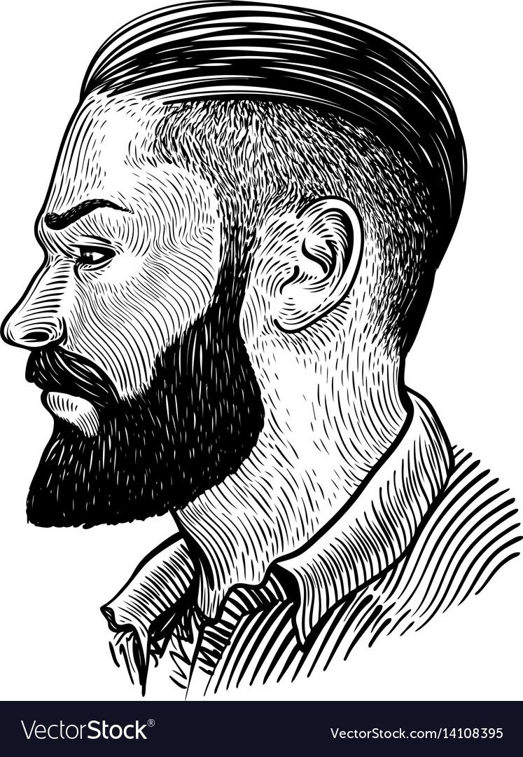 Hand drawn portrait of bearded man in profile