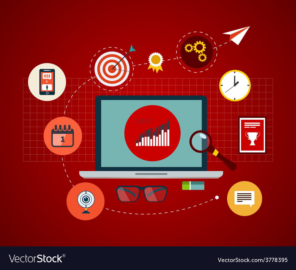 Icons set of modern business working elements