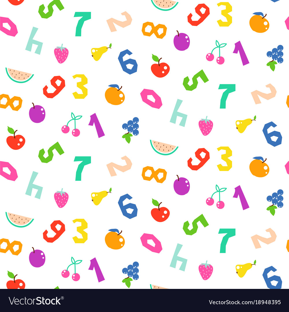Kid numbers and fruits bright seamless