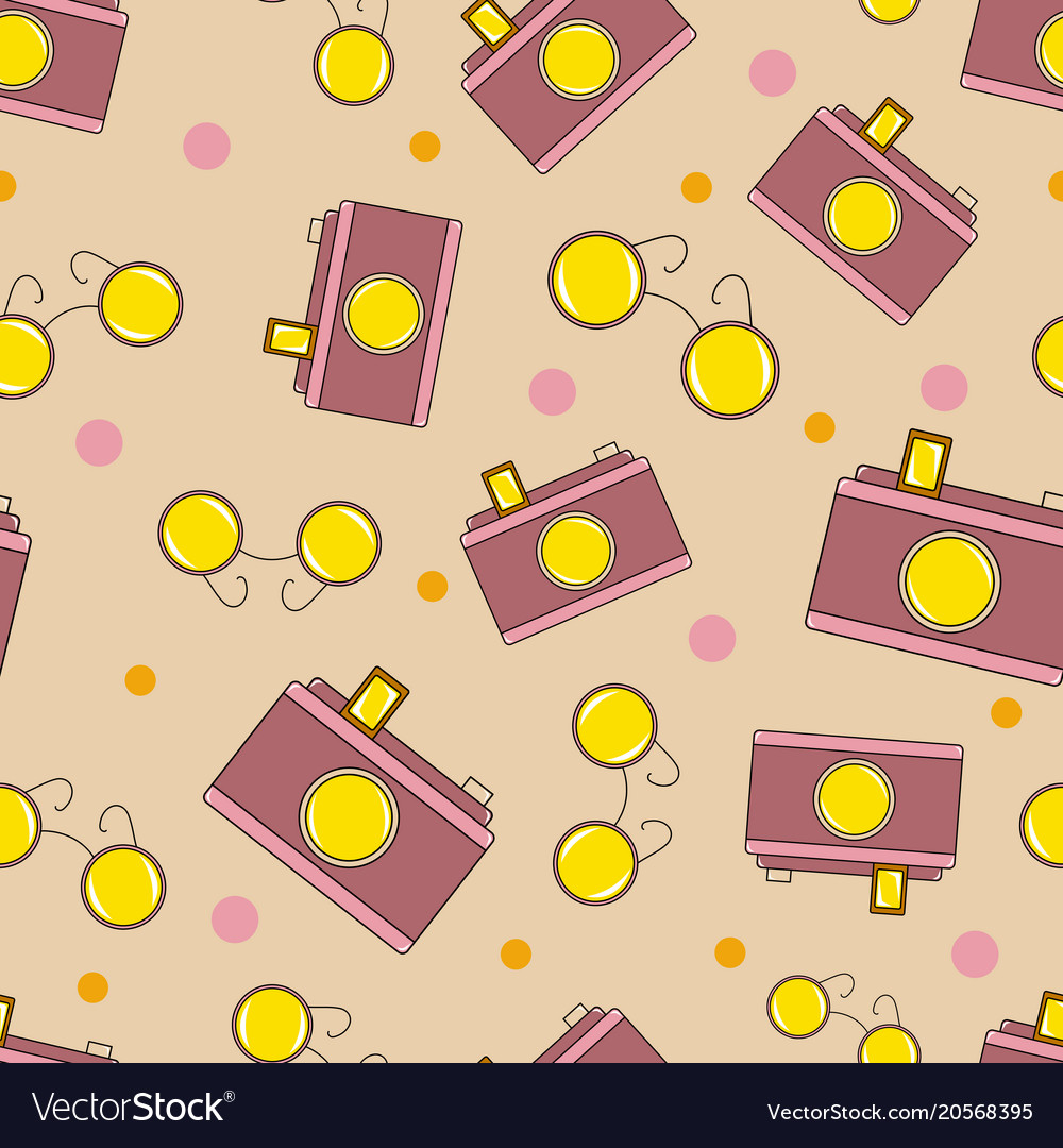 Lovely seamless pattern with sunglasses and camera vector image