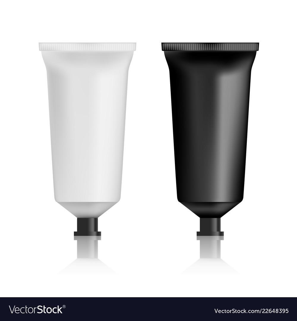 Realistic black and white lotion or cream