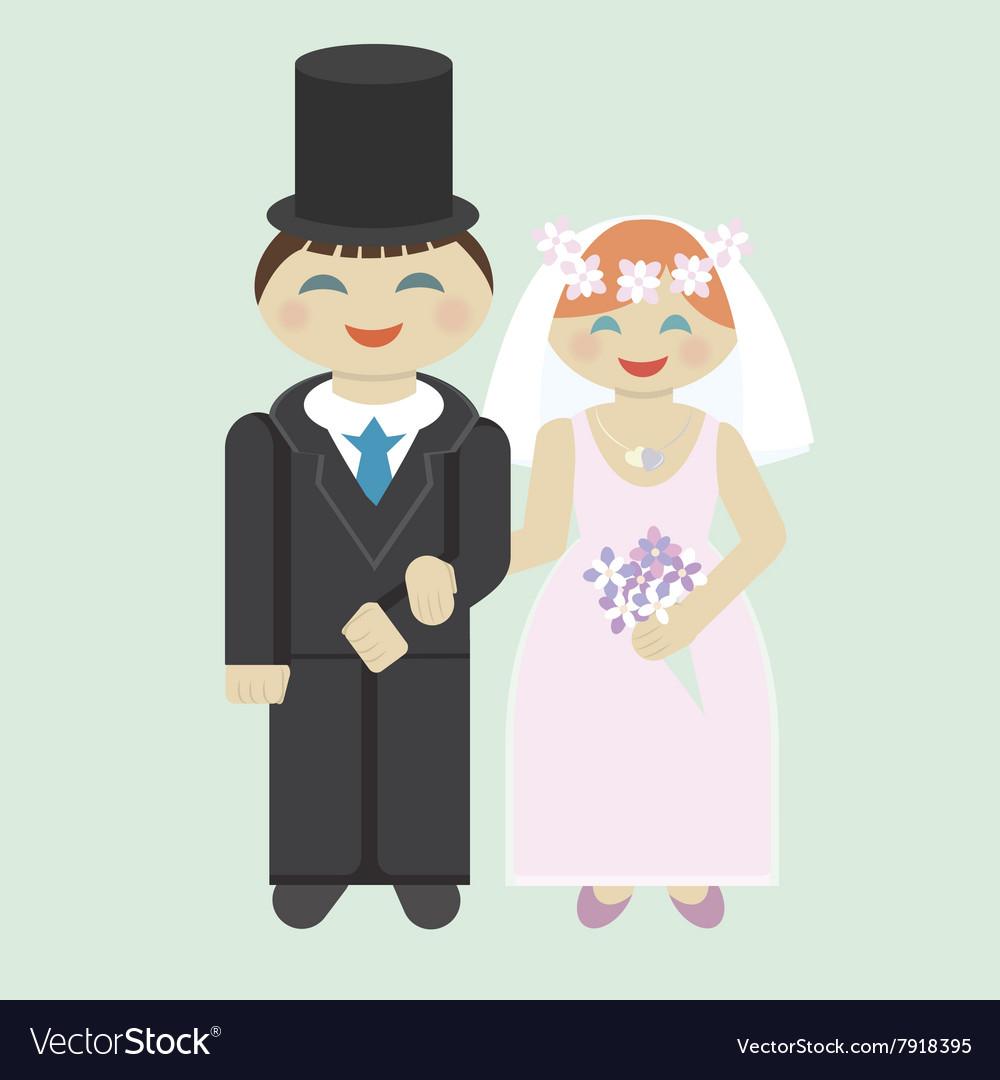 Wedding icon bridegroom and bride