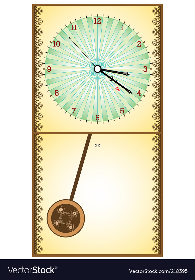 Wooden pendulum clock vector image