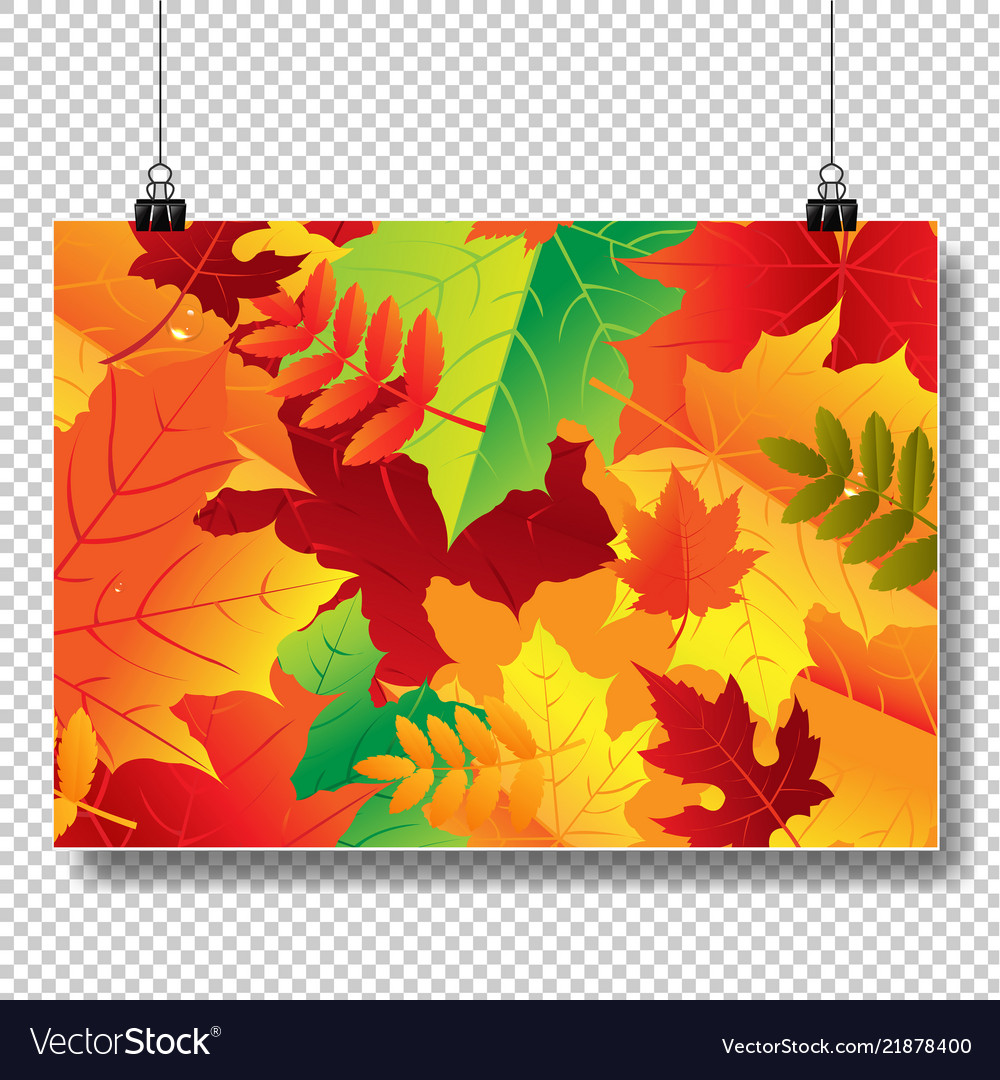 Autumn banner isolated transparent background
